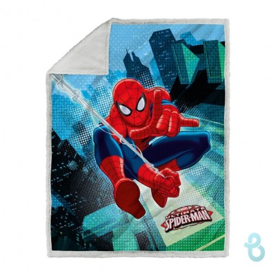 Caleffi Marvel Plaid In Stampa Digitale Con Sotto Agnellato Spiderman - Biancheria Italiana