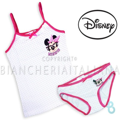 Disney Completo Intimo MINNIE Bambina (Top + Slip) In Cotone - Biancheria Italiana
