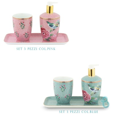 Pip Studio Set/3 Bathroom Accessories Floral Good Morning - Biancheria Italiana